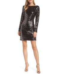 Eliza J Bateau Neck Sequin Sheath Dress