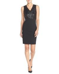 NYDJ Colette Sequin Ponte Sheath Dress Size 12 Black