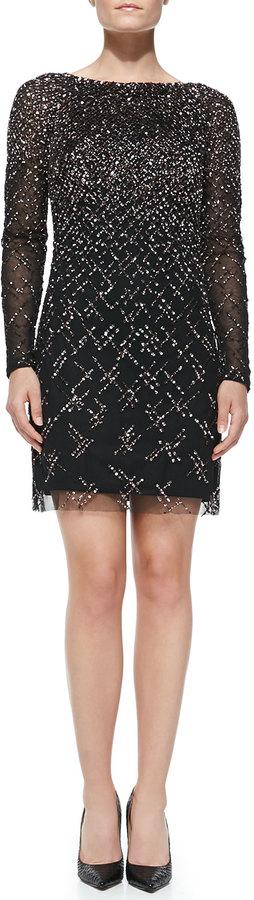 Long Sleeve Beaded Cocktail Dress