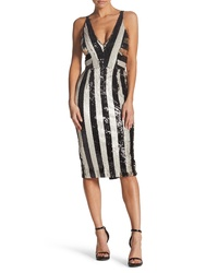 Dress the Population Margo Plunging Stripe Dress