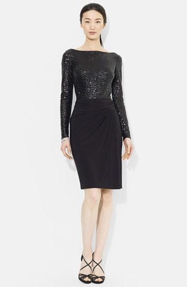 Lauren Ralph Sequin Mesh Jersey Sheath Dress