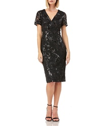 Carmen Marc Valvo Infusion V Neck Sequin Soutache Cocktail Sheath