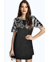 Boohoo Boutique Gemma Sequin Shoulder And Sleeve Shift Dress