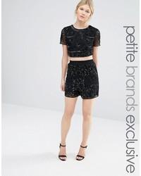 Maya Petite All Over Tonal Sequin Shorts