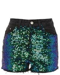 d98de15159 Topshop Sequinned Longline Shorts Out of stock · Topshop Moto Sequin Detail  Denim Mom Shorts