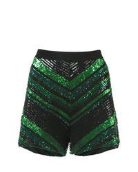 Sally Lapointe Sequin Knit Chevron Shorts