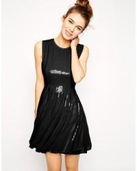 Black Sequin Skater Dress