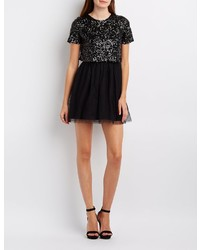Charlotte Russe Sequin Tulle Skater Dress
