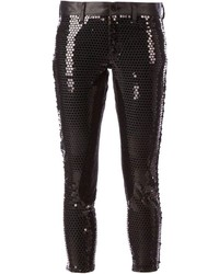 Black Sequin Skinny Pants