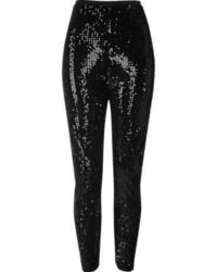 River Island Black Sequin High Rise Leggings