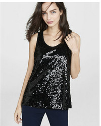 Express Black Sequined Split Back Tank