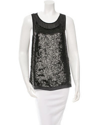 Gryphon Silk Accented Sequin Top