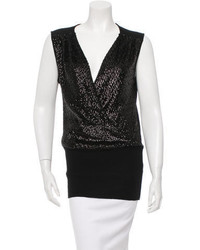 Tory Burch Sleeveless Sequin Accented Top