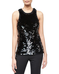 Michael Kors Michl Kors Collection Sequined Crochet Trim Knit Tank