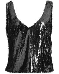 Sally lapointe stretch sequin scoop neck tank medium 6458147