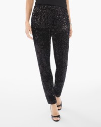 Sequins and panne tapered ankle pants in black medium 1291532