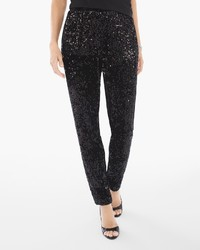 Sequins and panne tapered ankle pants medium 1291531