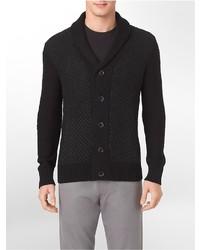 Calvin Klein Tweed Shawl Neck Cotton Blend Cardigan