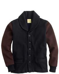 J.Crew Dehen For Shawl Collar Cardigan Sweater In Black Colorblock Wool