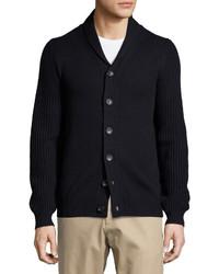 Neiman Marcus Shawl Collar Ribbed Sleeve Sweater Cardigan Dark Midnight