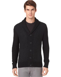 Calvin Klein Tweed Stitched Shawl Collar Cardigan Sweater