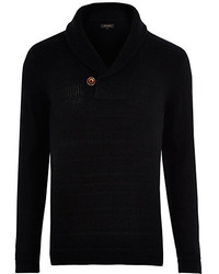 River Island Black Shawl Neck Knitted Sweater