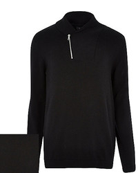 River Island Black Zip Shawl Neck Sweater