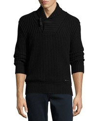 Burberry Douglas Toggle Pullover Sweater Black