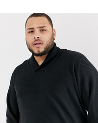 Jacamo Knitted Shawl Neck Jumper In Black