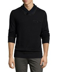 Billy Reid Piqu Shawl Collar Pullover Black
