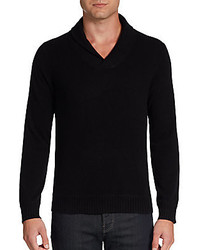 Saks Fifth Avenue BLACK Shawl Collar Cashmere Sweater