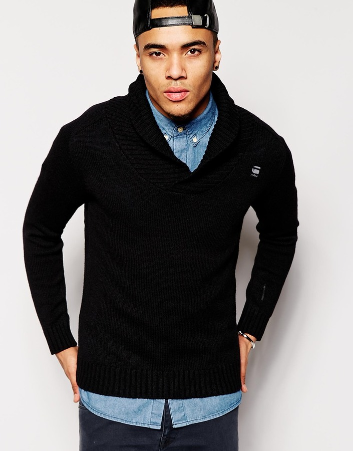 G Star Shawl Collar Sweater Sharshaw Oxford Knit | Where to buy ...