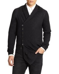 Alexander McQueen Wool Silk Shawl Collar Sweater
