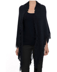 Minnie Rose Cashmere Fringe Shawl In Black