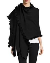 Neiman Marcus Fur Pompom Border Wrap Black