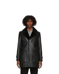 Saint Laurent Black Shearling Oversize Coat