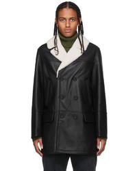 Yves Salomon Black Shearling Pea Coat