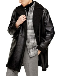 Topman Double Breasted Faux Leather Faux Shearling Coat