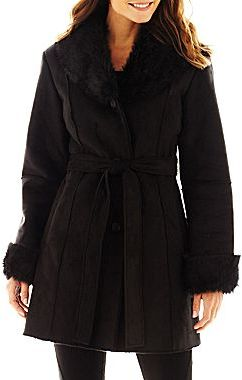 ce19165e5a81 ... Black Shearling Coats jcpenney Excelled Leather Excelled Faux Shearling  Belted Coat ...