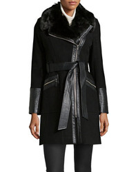 Via Spiga Faux Fur Faux Leather Trimmed Trench Coat Black