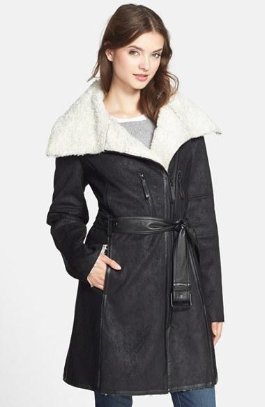 d2749604af40 ... Vince Camuto Faux Shearling Asymmetrical Zip Coat ...