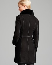 Maximilian Shearling Lamb Three Quarter Sleeve Coat With Leather ...