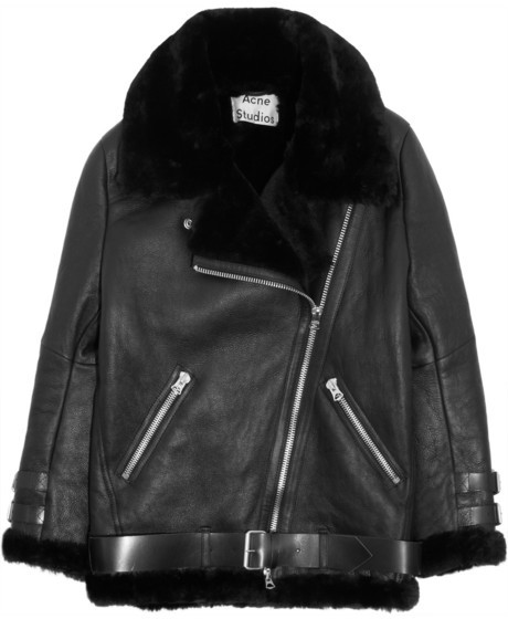 Acne Studios Velocite Oversized Shearling Biker Jacket | Where to