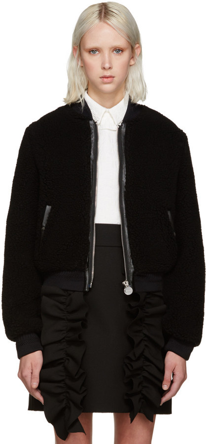 Super discount search for official thoughts on $740, Carven Black Faux Shearling Bomber Jacket