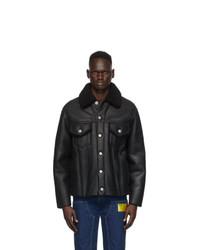 Maison Margiela Black Leather Shearling Jacket