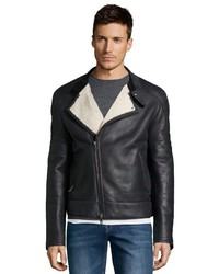 Gucci Black Leather Shearling Lined Bomber Jacket