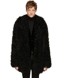 Saint Laurent Black Shag Grunge Shearling Coat