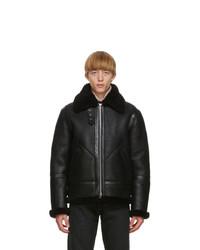 Acne Studios Black Shearling Aviator Jacket