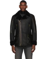 Belstaff Black Shearling Dennison Coat