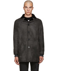 Neil Barrett Black Shearling Long Coat
